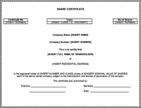 share certificate template word doc sle templates