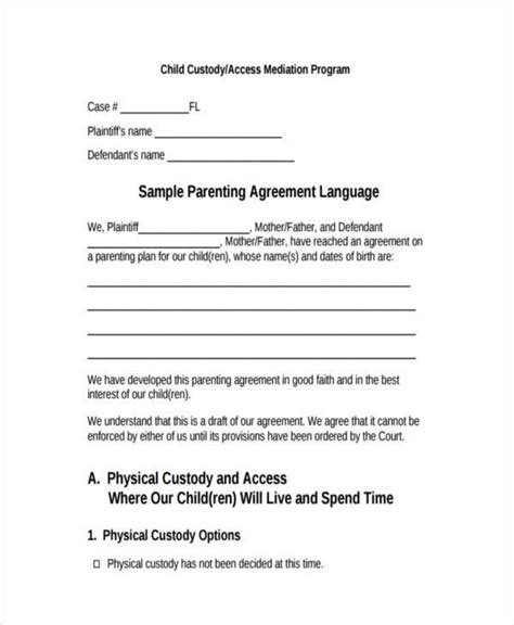 8 custody agreement form sles free sle exle