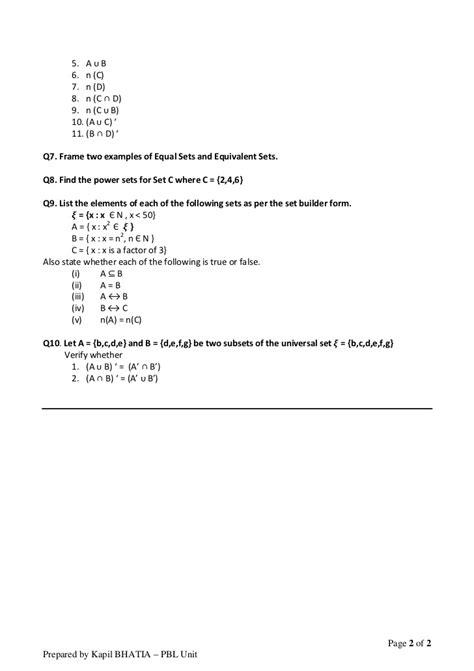 set theory worksheet