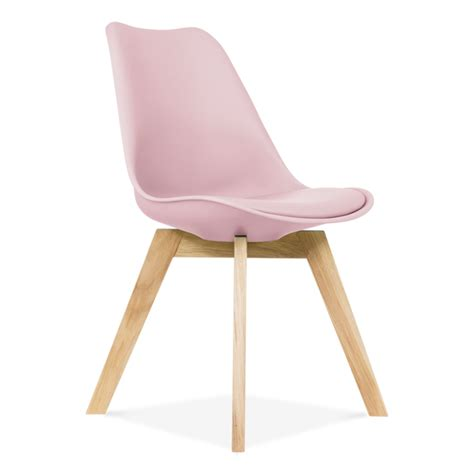 Pastel Pink Dining Chair Oak Crossed Wood Legs   Cult