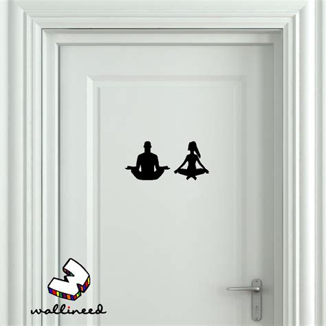 bathroom door sticker yoga bathroom door sticker