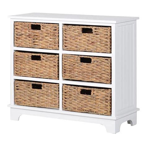 richmond white wooden 6 basket storage chest of drawers