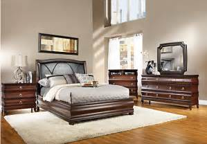 alexi cherry 5 pc king panel bedroom with chocolate inset