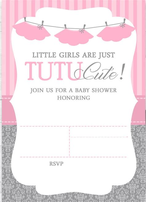 Cute Ballerina Baby Shower Invitations Free Cakraest Invitation Template Ballerina Baby Shower Invitation Templates