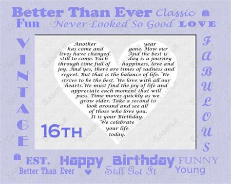 16th Birthday Quotes 16th Birthday Gift Sweet Sixteen Birthday By