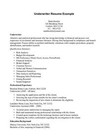 Insurance Underwriting Trainee Sle Resume by Insurance Underwriter Resume Student Resume Template