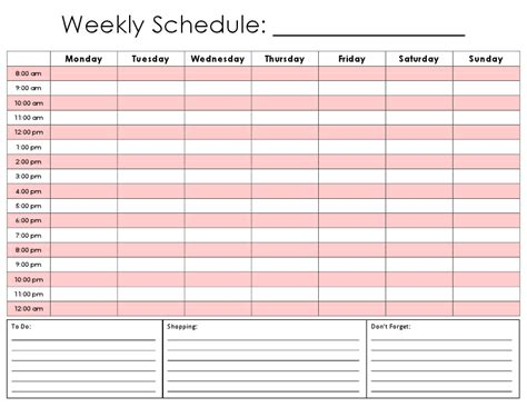 8 best images of weekly hourly calendar printable free