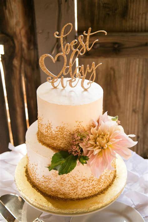 wedding cake gold sprinkles  day  topper white