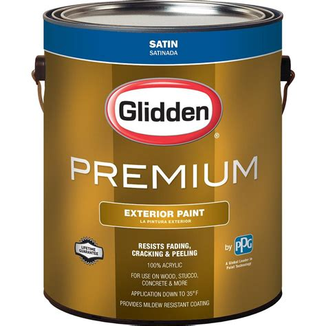 Premium A 01 glidden premium 1 gal satin exterior paint gl6912 01 the home depot