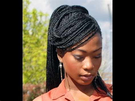 medium size box braids with a bang styling solange box braids side swept high ponytail