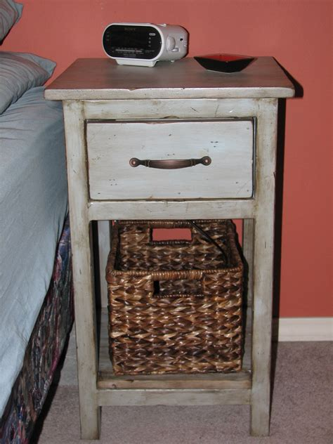 Bedside Tables With Basket Drawers Vintage White Bedside Table With Storage Drawer And Shelf Plus Sea Grass Basket Of Stunning