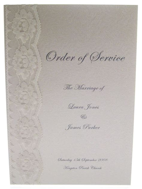 Wedding Order Of Service by Chantilly Order Of Service Ghost Orchid Designs