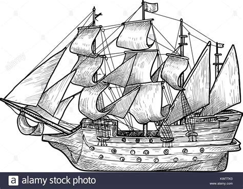 old boat vector old sailing boat illustration drawing engraving ink