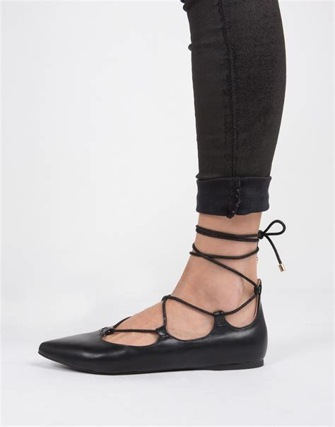 black lace flats shoes lace up ballerina flats black flats black shoes 2020ave
