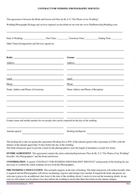 sle wedding photography contract template 19 photography contract templates and sles in pdf