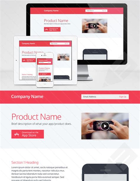 free landing page template best of free web landing page templates designfreebies