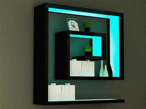 wall shelf ideas bloombety wall shelf ideas with blue glowing different