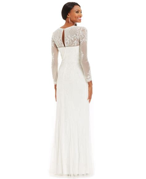 beaded white gown papell sleeve beaded illusion gown in white