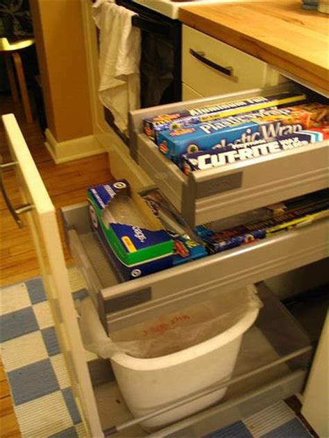 cutting board drawer above trash can maybe turn this trash pull out drawer from ikea into a