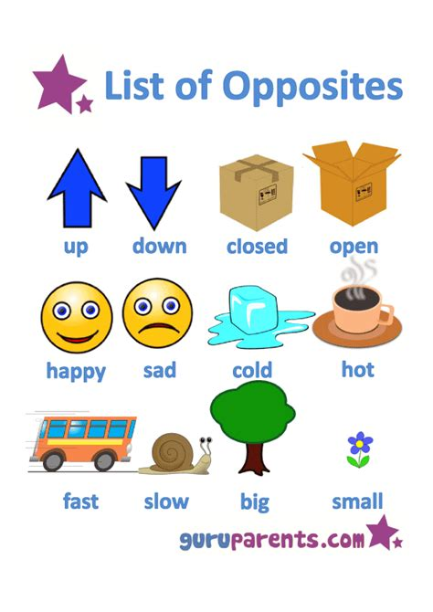 printable opposite games for kindergarten list opposites for preschoolers printable worksheets
