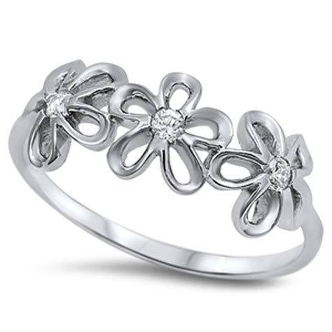 sterling silver plumeria clear cz ring rhodium finish