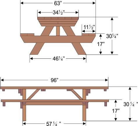 picnic table bench height dimensions drawings