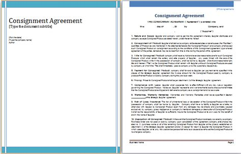 consignment agreement template word doc 585722 consignment contract template 5 free word pdf