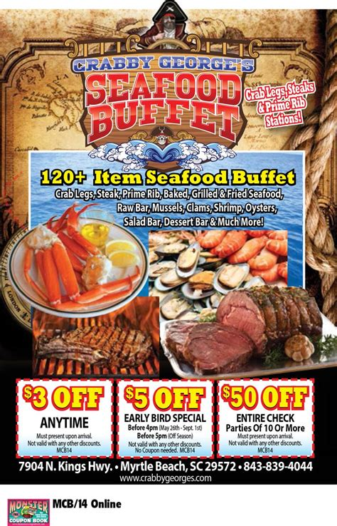 Seafood Buffet Coupon Crabby George S Seafood Buffet Myrtle Beach Resorts