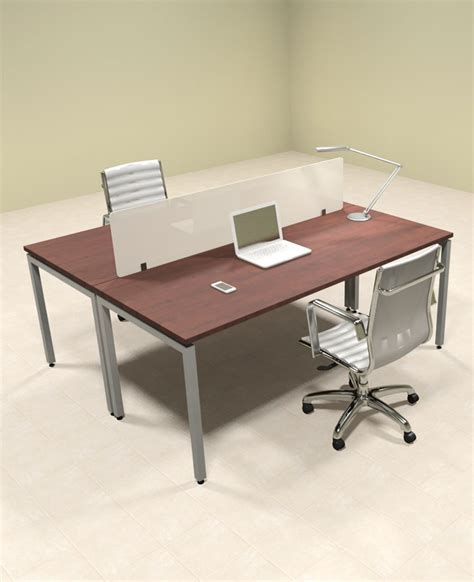 Two Person Office Desk Two Person Modern Divider Office Workstation Desk Set Of Con Fp3 Ebay