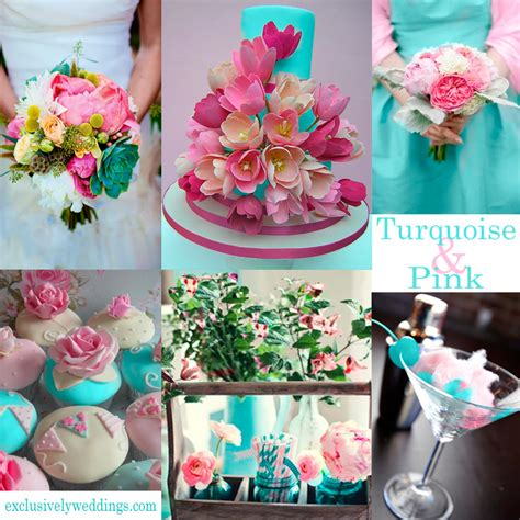 theme pink turquoise pretty weddings