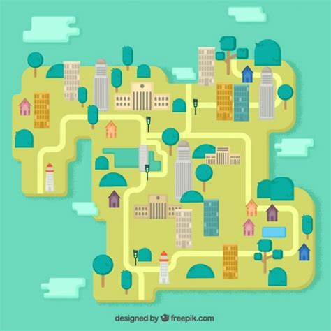 design free map city map in flat design vector free download