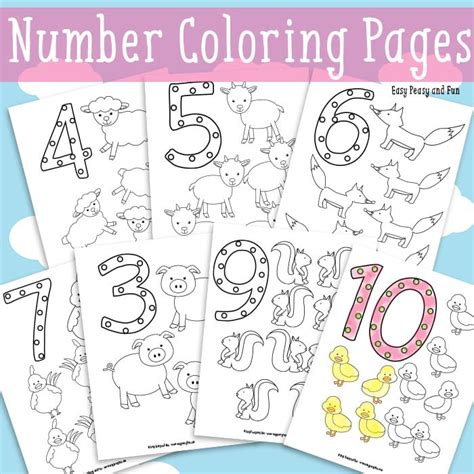 free printable animal numbers animals number coloring pages easy peasy and fun