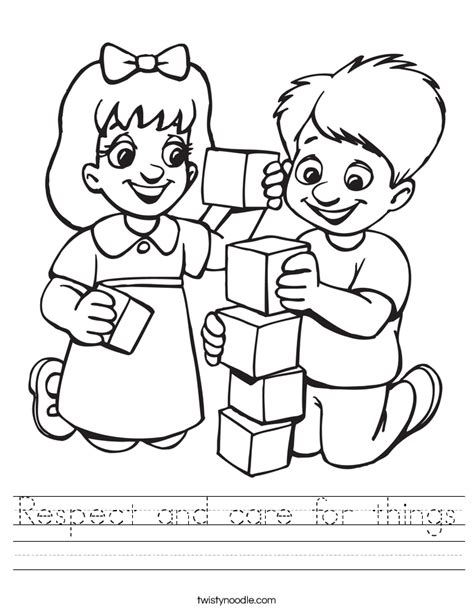 coloring pages respect free respect and care for things worksheet twisty noodle