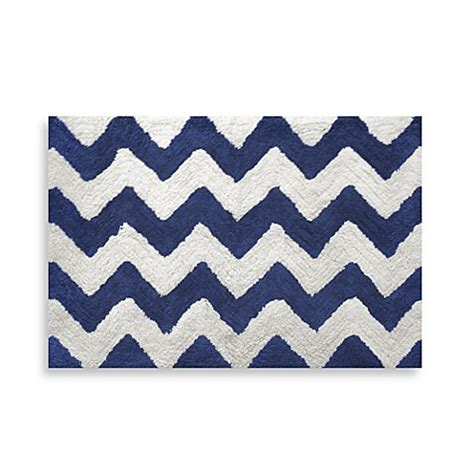 Chevron Navy 20 Inch X 30 Inch Bath Rug Bedbathandbeyond Com Chevron Bathroom Rug