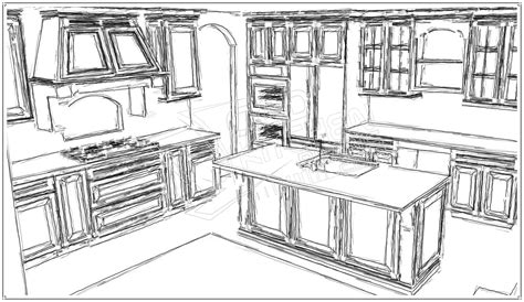 Draw Kitchen Cabinets Kitchen Drawing Marceladick