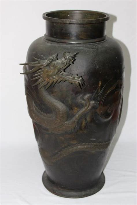 Meiji Vase by Japanese Meiji Period Bronze Vase