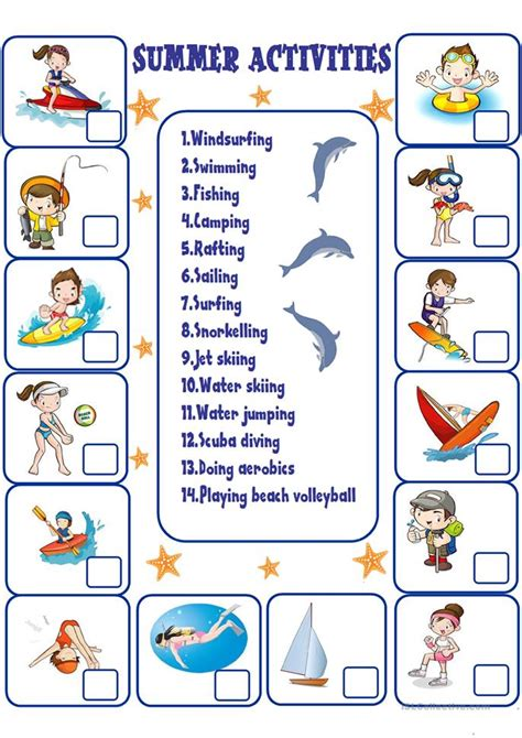 themes for english summer c summer activities worksheet free esl printable