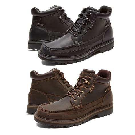 mens boots rockport rockport mens gentlemens moc toe mid hydro shield lace up