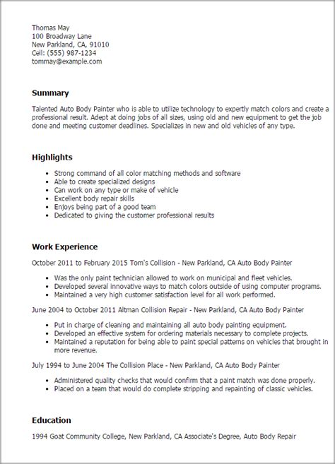 Automotive Painter Resume Template auto painter resume template best design tips