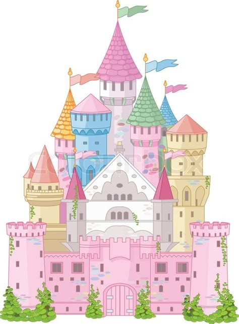 Chateau Home Plans Fairy Tale Magic Princess Castle Stock Vector Colourbox
