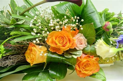 Wedding Bunch Of Flowers by Wedding Bunch Of Flowers Closeup At Table Stock Photo
