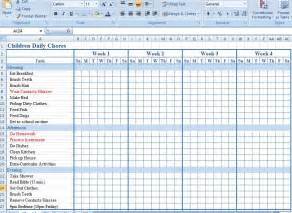 Chores Template by Microsoft Chore Chart Templates Go Search For