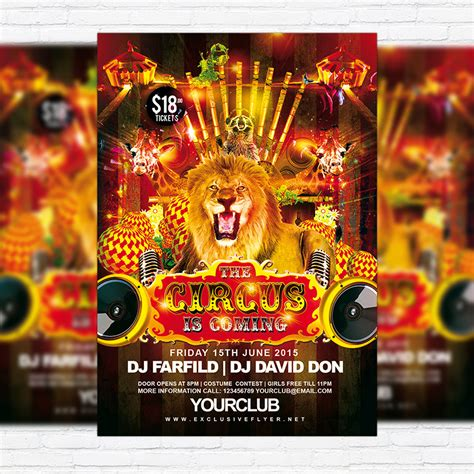 carnival poster template circus free club and flyer psd template
