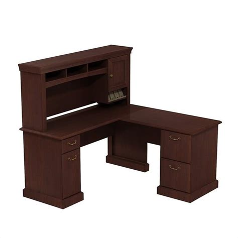 Storage Desk With Hutch Computer Desk Workstation Table 60w X 60d L Desk With Hutch Storage In Cherry Ebay