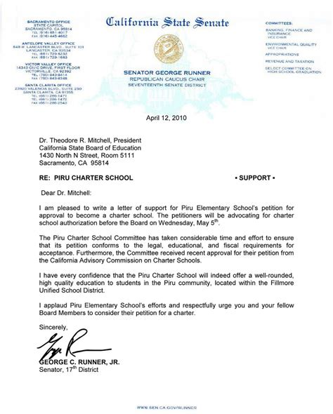 Letter To California State senator runner supports piru charter the fillmore gazette