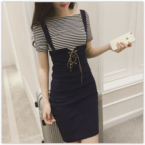 Set T Shirt Jumper Striped Dress set striped t shirt sheath jumper dress