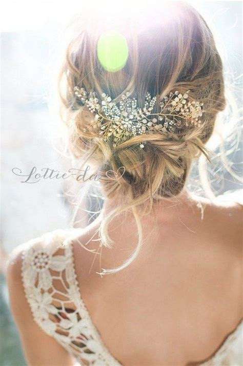 wedding boho updo wedding updo hairstyle with gold boho headpiece www