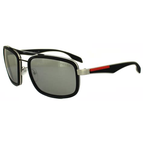 Prada Mirror 2 prada sport sunglasses 52ps 1bo2b0 silver black rubber