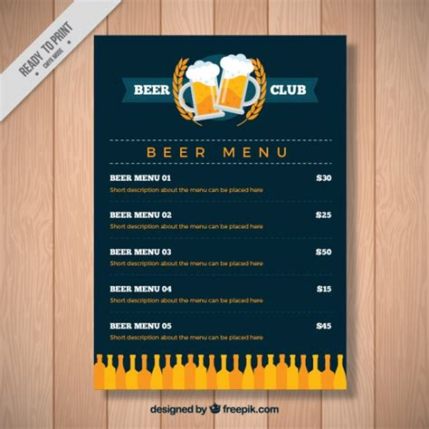vintage beer menu template vector free download