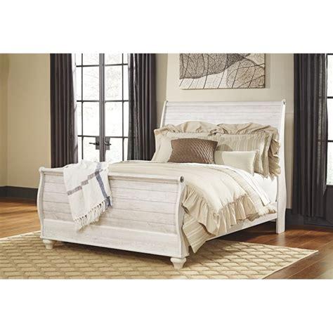 ashley sleigh bed ashley willowton queen sleigh bed in whitewash b267 74